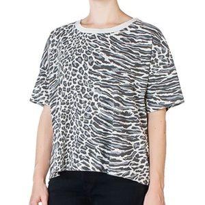 Current/Elliott Gray Leopard Print Roadie Top